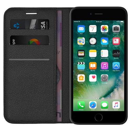 Leather Wallet Case & Card Pouch for Apple iPhone 6 Plus / 6s Plus - Black